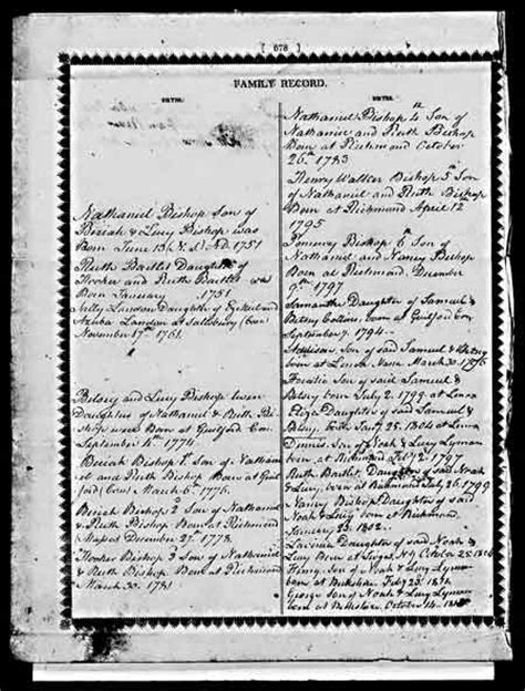 Michigan Birth Records Index Descendants Of Hotchkin Of Guilford Ct Bishop Family Bible Birth Records