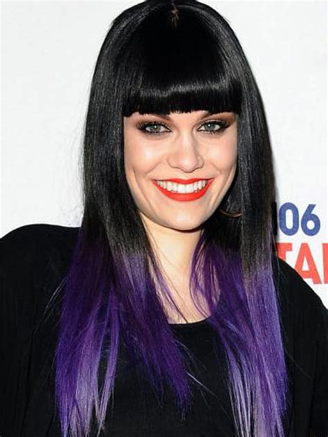 what purple hair dip dyed with black looks like celebrities with dip dyed hair color women hairstyles