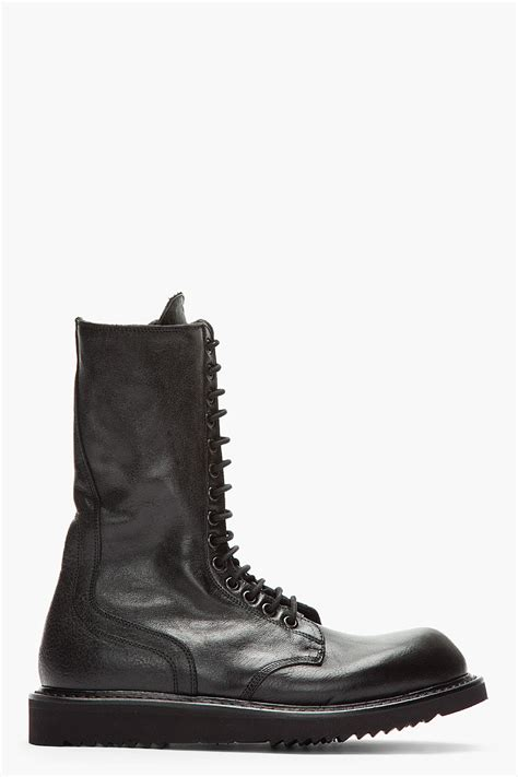 rick owens combat boots rick owens black laceup army combat boots in black for