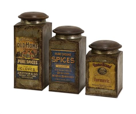Kitchen Canisters And Jars by Addie Vintage Label Wood And Metal Canisters Set Of 3