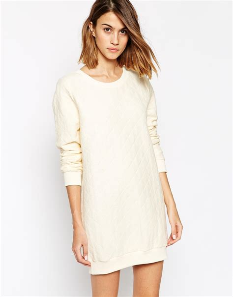 white knit dress ganni sleevel knit dress in white lyst