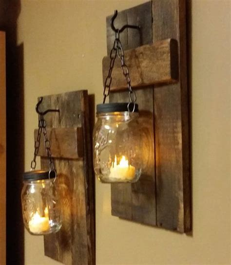 rustic wood candle holder  interior design