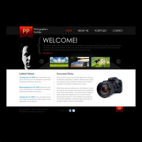 Simple And Clean Photographers Portfolio Website Template Design Psd Professional Portfolio Website Templates