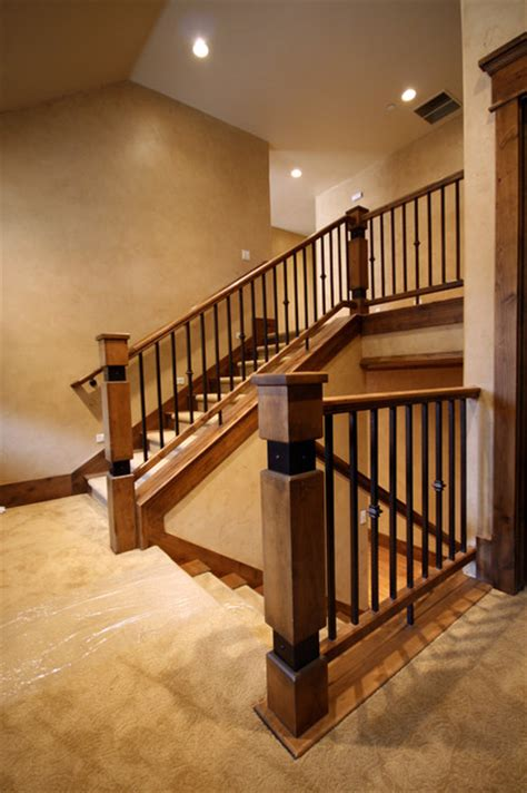 Wrought Iron Banister Spindles by Wood Railing With Wrought Iron Balusters Traditional