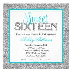 glam faux glitter silver teal blue sweet 16 personalized invitation