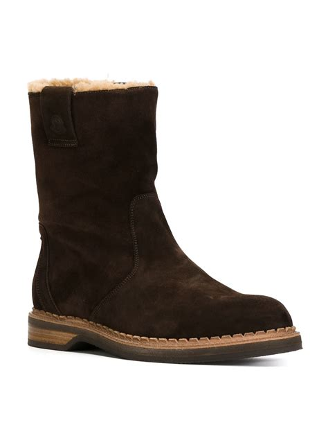 mens shearling boots moncler shearling lined boots in black for lyst
