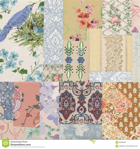 Wallpaper Shabby Vintage antique collage of shabby chic vintage wallpapers stock