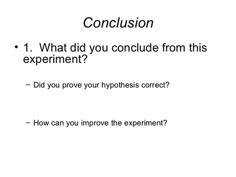 Experiment Conclusion Outline by Science Project Experiment Template