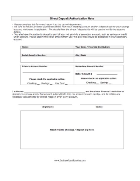ach authorization form template business template