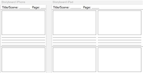 Universal Storyboarding Template For The Mobile Storyboarder Zcasting 3000 Mobile App Storyboard Template