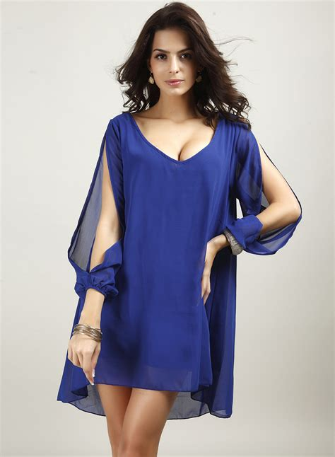 V Neck Chiffon Mini Dress v neck slit sleeve chiffon mini dress novashe
