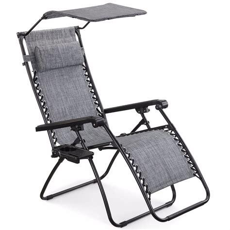 Zero Gravity Chair With Canopy by Vonhaus Textoline Zero Gravity Chair Canopy Sun Lounger Garden Patio Outdoor Ebay
