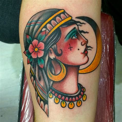 gypsy head tattoo designs traditional ship and lighthouse by fabio onorini