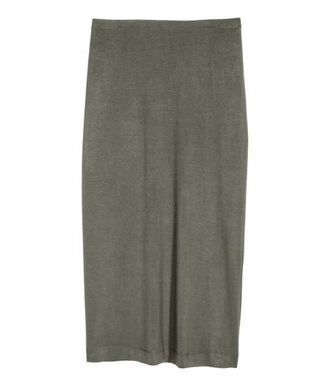 h m pencil skirt in khaki khaki green lyst
