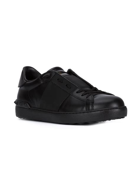 open sneakers valentino open leather low top sneakers in black for