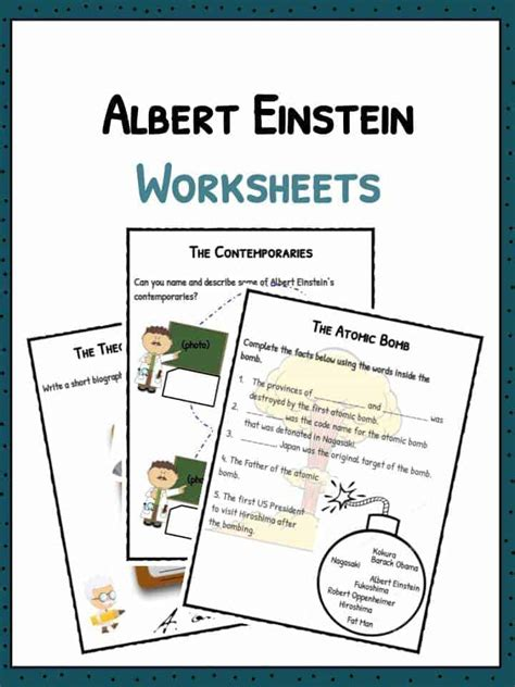 printable biography of albert einstein describing words worksheets for kids the best and most