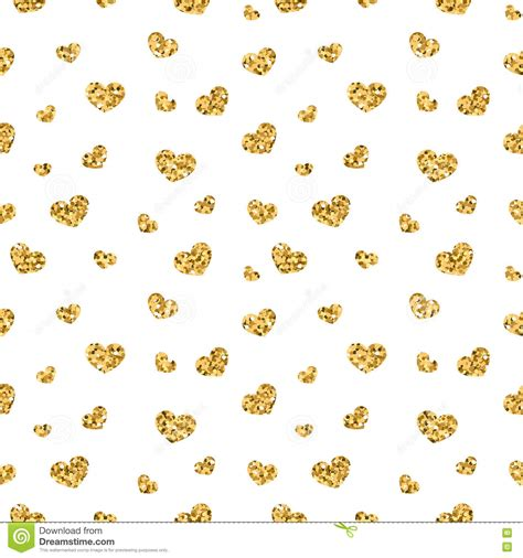 gold heart pattern golden hearts seamless pattern 1 white stock illustration