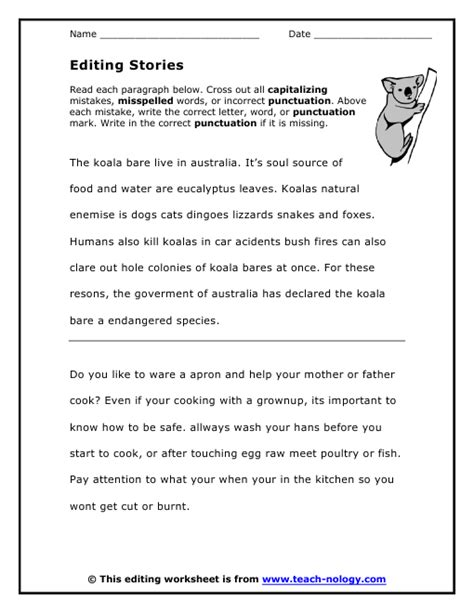 Proofreading Worksheets editing stories