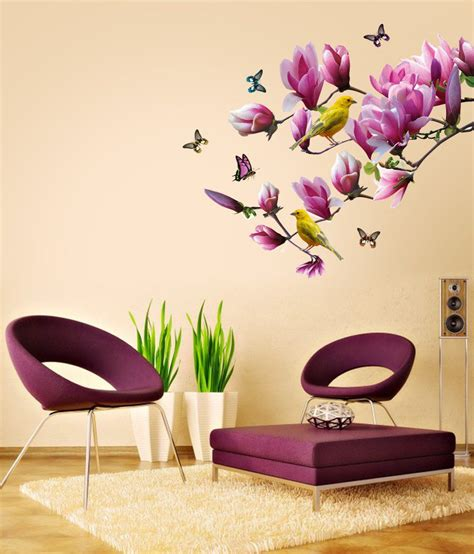 Wall Sticker Ay9006 60x90 stickerskart pink and yellow vinyl floral lovely magnolia branch home decoration wall sticker