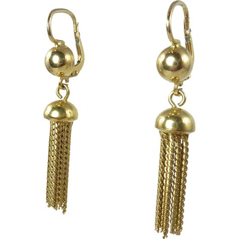Tassel Earring Key vintage 18kt gold tassel earrings sold on ruby