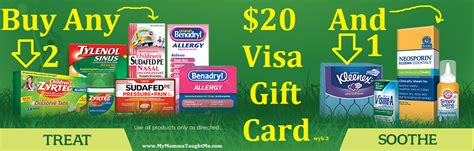 20 Dollar Visa Gift Card - mcneil rebate get 20 visa gift card wyb 3 participating products money maker deals
