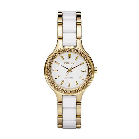 dkny gold plated white ceramic bracelet with