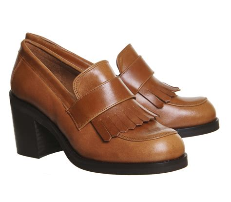 heeled loafers office quiff fringe block heel loafers in brown lyst