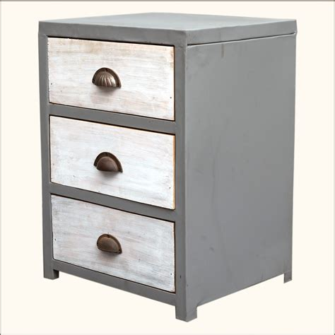 Industrial Vanity Table Industrial 3 Storage Drawer Reclaimed Wood Iron Dresser Chest Vanity End Table Ebay