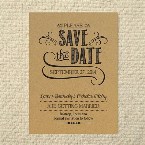 diy save the date templates free diy kraft paper wedding save the date handlettered