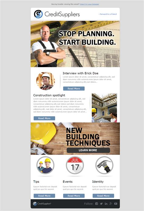 Bold Masculine Construction Company Newsletter Design For Creditsuppliers By Angel Ascanio Construction Newsletter Template