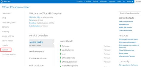 Office 365 Support How To Create Service Requests To Contact Office 365
