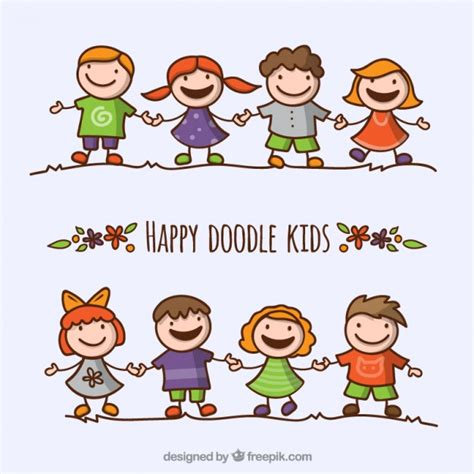 kid doodle free happy doodle pack vector free