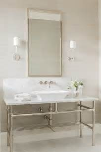Polished Nickel Sconce Lighting Washstand With Vessel Sink Transitional Bathroom