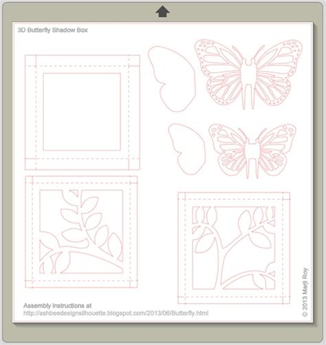 free shadow box card template ashbee design silhouette projects 3d butterfly shadow box