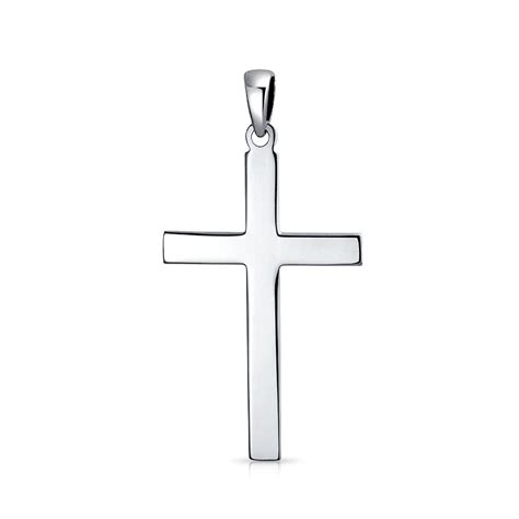 simple flat sterling silver cross necklace pendant