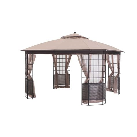 sunjoy gazebo sunjoy bay window 12 ft x 12 ft brown steel gazebo