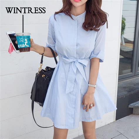Blue Autumn Style Casual Top 20186 wintress 2017 casual bodycon dress autumn stand blue white striped bow buttons korean