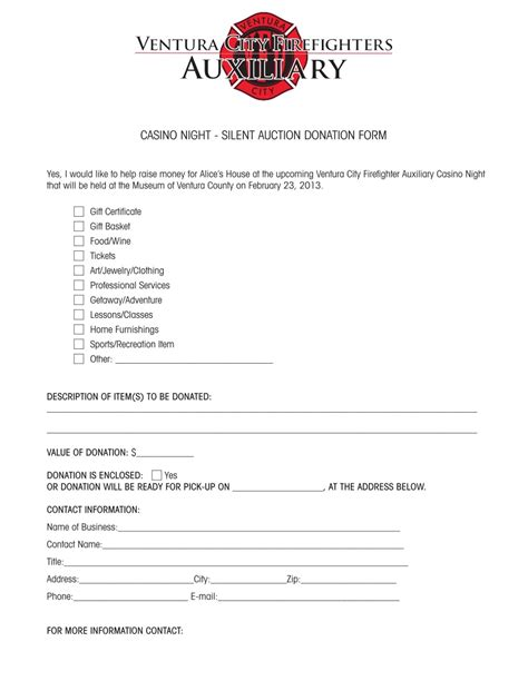 charity auction letter template silent auction donation form template pictures
