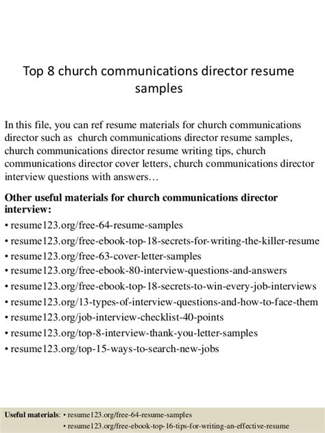 Church Communications Director Sle Resume top 8 church communications director resume sles