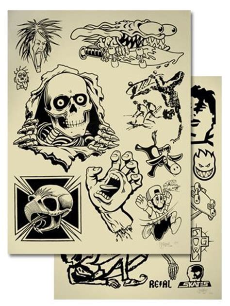 tattoo flash graphics skate nostalgia powel peralta tony hawk jeff grosso