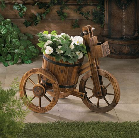 Tricycle Planter by Wooden Tricycle Barrel Planter Wood Display Rustic Charm