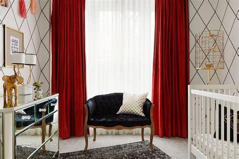 black  white nursery  red curtains contemporary