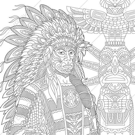 coloring books for adults india coloring pages american indian chief zentangle