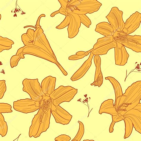yellow lily pattern seamless floral sunny vintage japanese yellow lily pattern