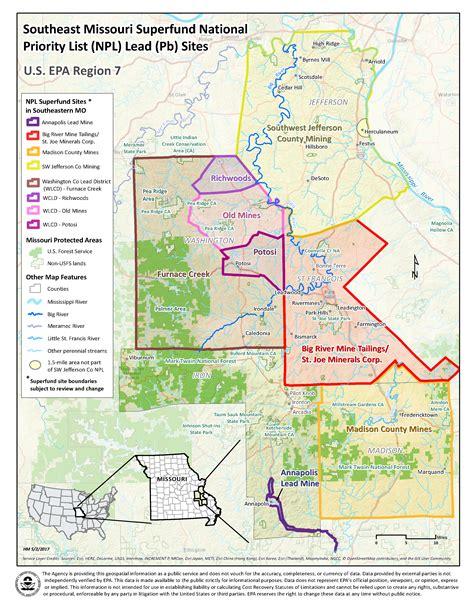 superfund site map big river mine tailings national priorities list npl