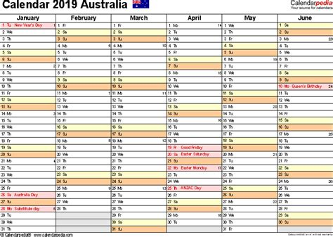 Calendar 2019 Word Australia Calendar 2019 Free Word Calendar Templates