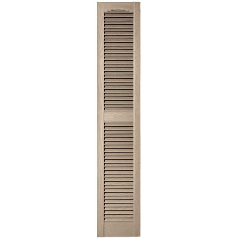 Builders Edge 12 In X 64 In Louvered Vinyl Exterior Home Depot Exterior Shutters