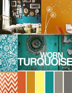 Turquoise and orange room color scheme for the home
