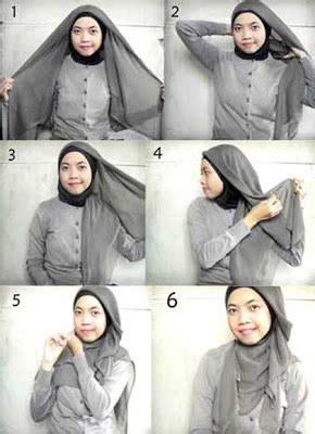 memakai jilbab pashmina  kampus tutorial memakai