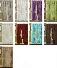 Shower curtain double swag linen pattern fabric attached valance vinyl